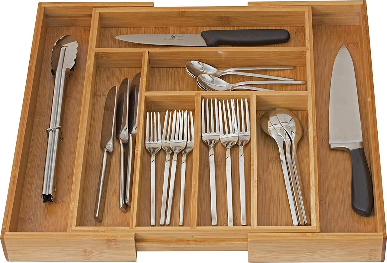 "<p>You can't go wrong with this <a href=""https://www.popsugar.com/buy/Home--Expandable-Drawer-Organizer-475128?p_name=Home-It%20Expandable%20Drawer%20Organizer&retailer=amazon.com&pid=475128&price=23&evar1=casa%3Aus&evar9=46525865&evar98=https%3A%2F%2Fwww.popsugar.com%2Fhome%2Fphoto-gallery%2F46525865%2Fimage%2F46525882%2FHome-It-Expandable-Drawer-Organizer&list1=shopping%2Corganizing%2Corganization%2Chome%20organization%2Chome%20shopping&prop13=mobile&pdata=1"" rel=""nofollow"" data-shoppable-link=""1"" target=""_blank"" class=""ga-track"" data-ga-category=""Related"" data-ga-label=""https://www.amazon.com/Home-Expandable-Flatware-Dividers-Kitchen-Organizer-Cutlery/dp/B00PHSQJIC/ref=sxin_6_sxwds-bovbs?crid=7NGQ9H974AF4&amp;keywords=drawer+organizer&amp;pd_rd_i=B00PHSQJIC&amp;pd_rd_r=e385acfc-8d5d-4d4c-8bcc-209cacf1c3d7&amp;pd_rd_w=ZEPPT&amp;pd_rd_wg=4iQWA&amp;pf_rd_p=55b738be-ff12-48ad-8ad2-6a14afb06d32&amp;pf_rd_r=V6F00CW5YAVR6X5QPXTF&amp;qid=1564765845&amp;s=gateway&amp;sprefix=drawer%2Caps%2C198"" data-ga-action=""In-Line Links"">Home-It Expandable Drawer Organizer</a> ($23).</p>"