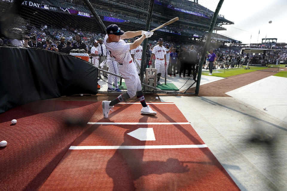 American League's Aaron Judge, of the New York Yankees, takes batting practice for the MLB All-Star baseball game, Monday, July 12, 2021, in Denver. (AP Photo/Gabriel Christus)