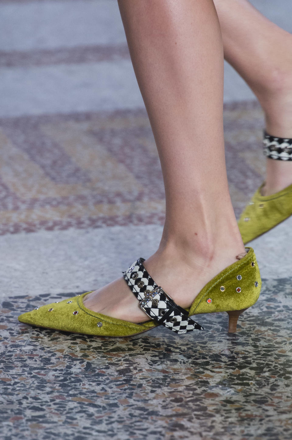 <p><i>Green velvet and checkered strap heels from the SS18 Bottega Veneta collection. (Photo: ImaxTree) </i></p>