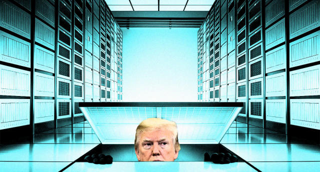 President Trump searches for a computer server. (Photo illustration: Yahoo News; photos: AP, Getty Images)