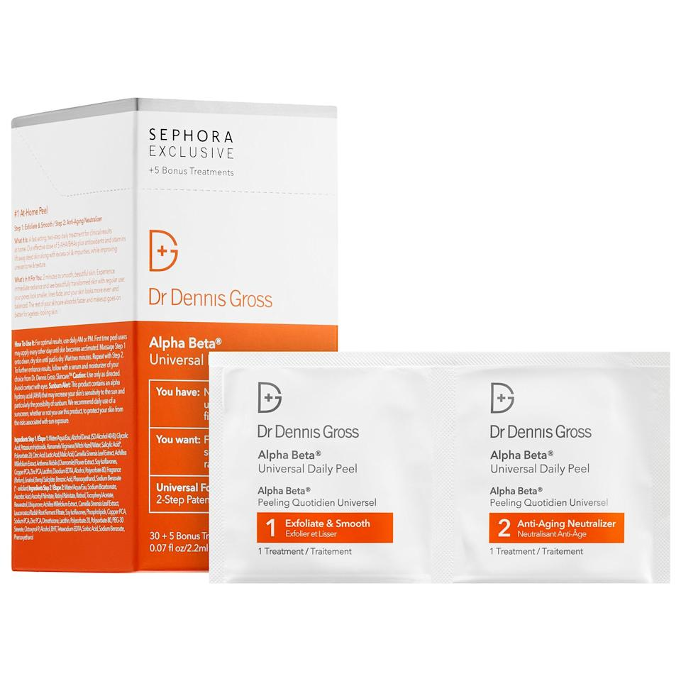 "<p>""I usually recommend glycolic acid pads like the <a href=""https://www.popsugar.com/buy/Dr.%20Dennis%20Gross%20Skincare%20Alpha%20Beta%20Universal%20Daily%20Peel-472631?p_name=Dr.%20Dennis%20Gross%20Skincare%20Alpha%20Beta%20Universal%20Daily%20Peel&retailer=sephora.com&price=88&evar1=bella%3Aus&evar9=46422835&evar98=https%3A%2F%2Fwww.popsugar.com%2Fbeauty%2Fphoto-gallery%2F46422835%2Fimage%2F46423008%2FDr-Dennis-Gross-Skincare-Alpha-Beta-Universal-Daily-Peel&list1=beauty%20products%2Cbeauty%20interview%2Cskin%20care&prop13=api&pdata=1"" rel=""nofollow"" data-shoppable-link=""1"" target=""_blank"" class=""ga-track"" data-ga-category=""Related"" data-ga-label=""https://www.sephora.com/product/alpha-beta-universal-daily-peel-P377533?icid2=products%20grid:p377533"" data-ga-action=""In-Line Links"">Dr. Dennis Gross Skincare Alpha Beta Universal Daily Peel</a> ($88) to be used once a week at night to gently chemically exfoliate the skin for a brighter complexion,"" Dr. Nussbaum said. ""Glycolic acid also decreases the aging process. Do not overexfoliate as it can cause redness and inflammation as well as microtears in the skin.""</p>"