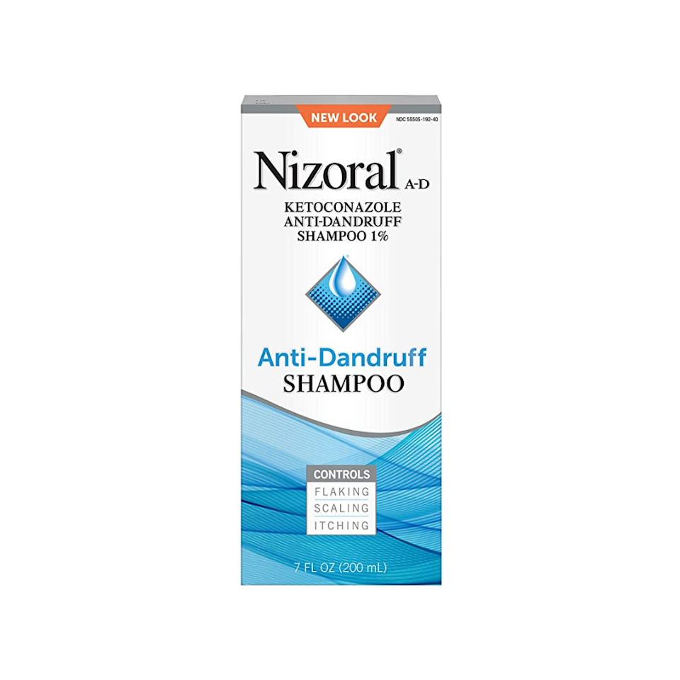 """<p><strong>Nizoral</strong></p><p>amazon.com</p><p><strong>$14.84</strong></p><p><a href=""""https://www.amazon.com/dp/B00AINMFAC?tag=syn-yahoo-20&ascsubtag=%5Bartid%7C2139.g.35918295%5Bsrc%7Cyahoo-us"""" rel=""""nofollow noopener"""" target=""""_blank"""" data-ylk=""""slk:BUY IT HERE"""" class=""""link rapid-noclick-resp"""">BUY IT HERE</a></p><p>Nizoral battles dandruff while controlling flaking, scaling, and itching thanks to its formulation with ketoconazole 1%. It's also gentle enough to use on color and chemically-treated hair.</p>"""