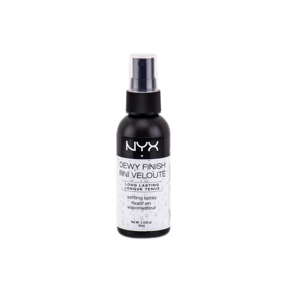 """<p>""""This mist keeps everything locked in, but with a more natural and supple pay off than translucent powder."""" —<em>Ashleigh Ciucci, New York City makeup artist</em></p><p>$8 (<a rel=""""nofollow"""" href=""""http://www.nyxcosmetics.com/makeup-setting-spray-dewy/NYX_332.html?mbid=synd_yahoobeauty"""">nyxcosmetics.com</a>).</p>"""