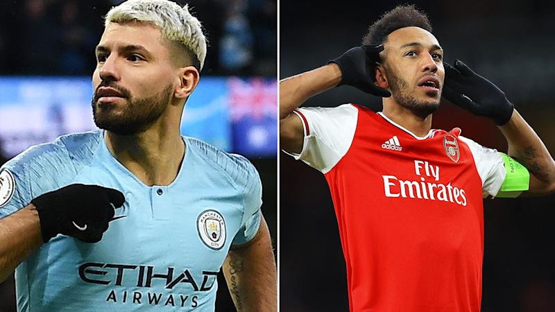 Kun Aguero (pictured left) pointing to his chest and Pierre-Emerick Aubameyang (pictured right) with his hands to his ears celebrating.