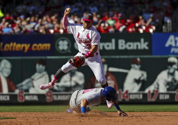 The Cubs lost a crucial runs when rookie Ian Happ was ruled to have violated baseball's sliding on this play during Saturday's game. (AP)