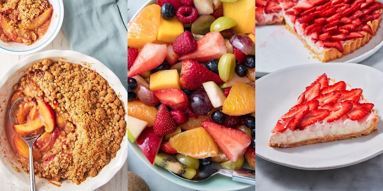 """<p>It's summer time people, and you know what that means. Lot's of delicious, fresh, ripened fruit. But how will you use them? We've pulled together our favourite summer fruit recipes to help you out. Whether you're after a classic <a href=""""https://www.delish.com/uk/cooking/recipes/a30527061/easy-fruit-salad-recipe/"""" target=""""_blank"""">Fruit Salad</a>, easy <a href=""""https://www.delish.com/uk/cooking/recipes/a30493223/peach-crumble-recipe/"""" target=""""_blank"""">Peach Crumble</a> or even some <a href=""""https://www.delish.com/uk/cooking/recipes/a31467640/blueberry-no-churn-ice-cream-recipe/"""" target=""""_blank"""">No Churn Blueberry Ice Cream</a>, we've got plenty of recipes for you to choose from. </p>"""