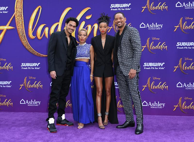 "(L-R) Trey Smith, Jada Pinkett Smith, Willow Smith and Will Smith attend the World Premiere of Disney's ""Aladdin"" at El Capitan Theatre on May 21, 2019 in Los Angeles"