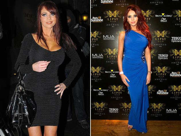 Amy Childs has lost weight (right) since she first found fame in TOWIE (left) Copyright [Rex/WENN]
