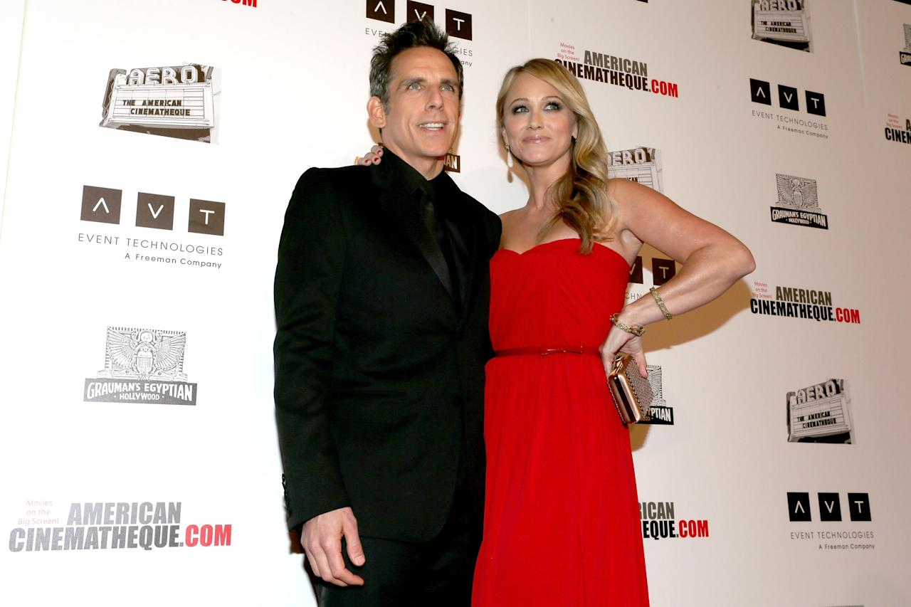 BEVERLY HILLS, CA - NOVEMBER 15:  Actors Ben Stiller and Christine Taylor attend the 26th American Cinematheque Award Gala honoring Ben Stiller at The Beverly Hilton Hotel on November 15, 2012 in Beverly Hills, California.  (Photo by Frederick M. Brown/Getty Images)