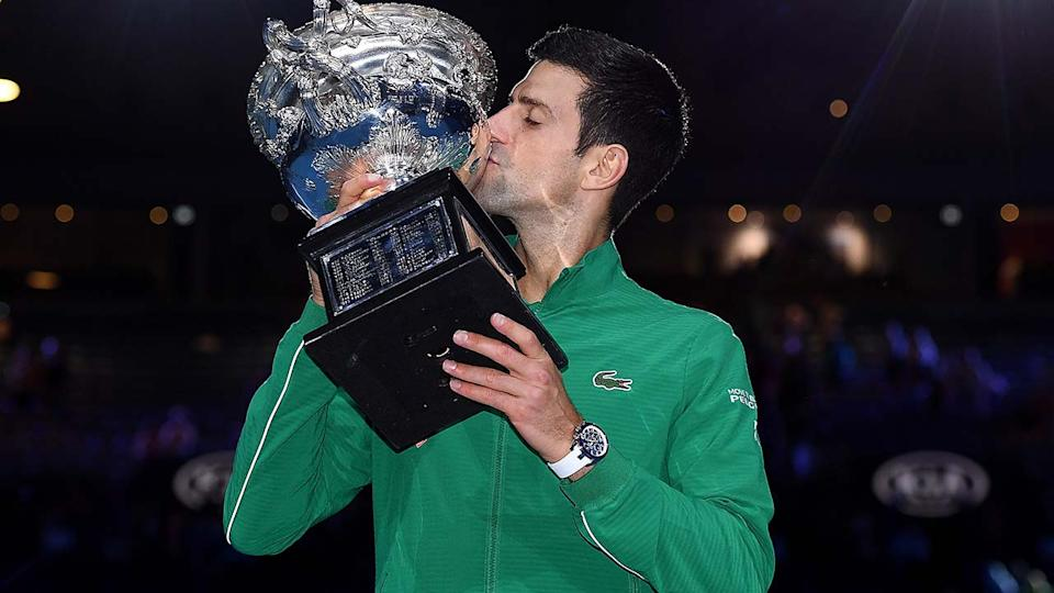 Novak Djokovic, pictured here with the Norman Brookes Challenge Cup after winning the 2020 Australian Open.