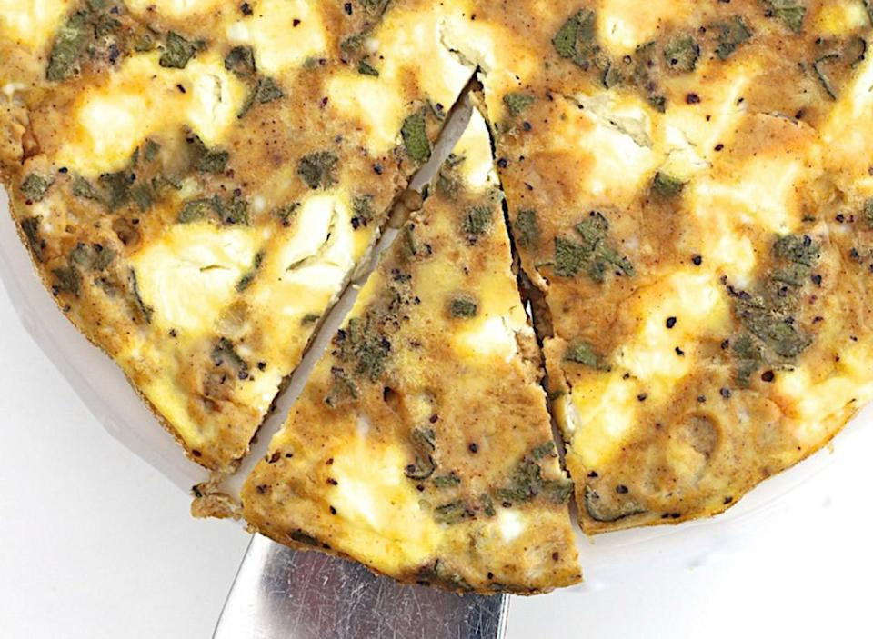 pumpkin goat cheese frittata