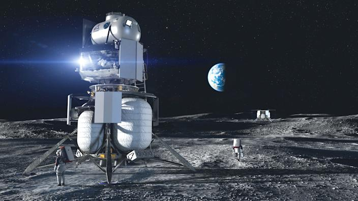 blue origin illustration spaceship moon lunar surface landing artemis lander program nasa