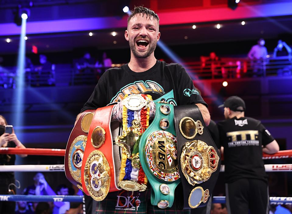 LAS VEGAS, NEVADA - MAY 22: Josh Taylor is victorious as he defeats Jose Ramirez for the junior welterweight championship at Virgin Hotels Las Vegas on May 22, 2021 in Las Vegas, Nevada. (Photo by Mikey Williams/Top Rank Inc via Getty Images