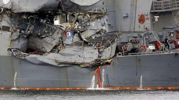 PHOTO: A damaged section of the USS Fitzgerald is seen at the U.S. Naval base in Yokosuka, southwest of Tokyo, June 18, 2017. (Eugene Hoshiko/AP Photo)