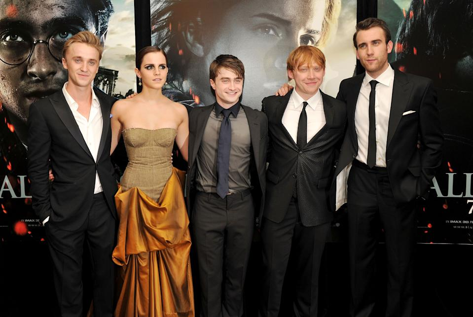 NEW YORK, NY - JULY 11:  (L-R) Tom Felton, Emma Watson, Daniel Radcliffe, Rupert Grint and Matthew Lewis attend the New York premiere of