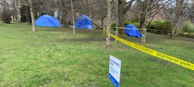 Homeless tents in Beacon Hill Park, Victoria, in March. While the City of Victoria and B.C. government pledge to provide homes or shelter to everyone camping in parks by May, Gavin Torvik of the Victoria Tenant Action Group says more people continue to lose their housing during the pandemic.