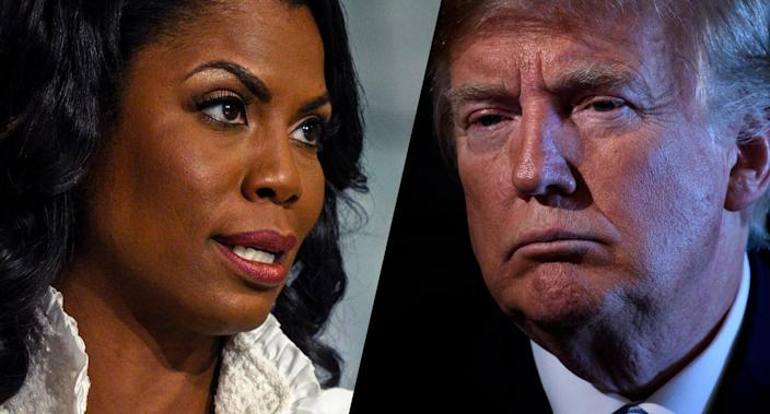 Omarosa Manigault Newman, former assistant to President Donald Trump and director of communications for the White House Office of Public Liaison, and Trump. (Photos: William B. Plowman/NBC/NBC NewsWire via Getty Images; Brendan Smialowski/AFP/Getty Images)