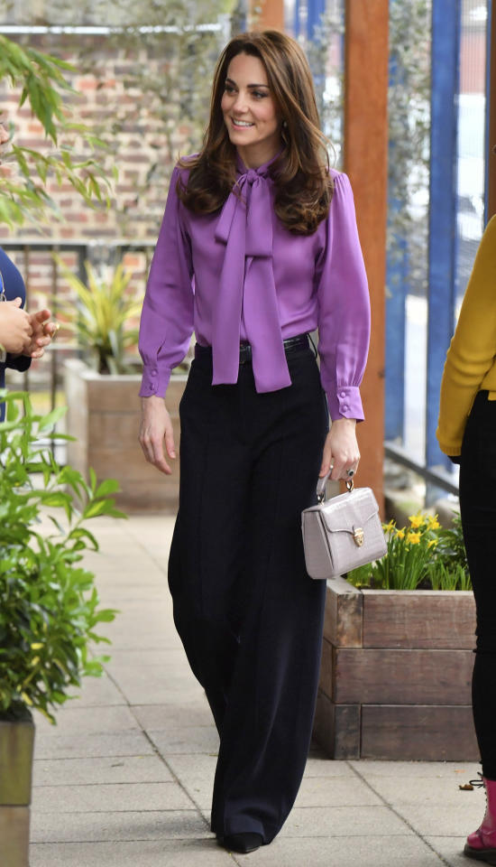 "<p>The Duchess of Cambridge looked gorgeous in a lavender <a rel=""nofollow"" href=""https://fave.co/2VZCULx"">Gucci pussybow blouse</a> during a solo outing in London. Priced at <a rel=""nofollow"" href=""https://fave.co/2VZCULx"">$1,300</a>, the look doesn't come cheap — so take a look through at how to get the royal look at a more affordable cost. </p>"