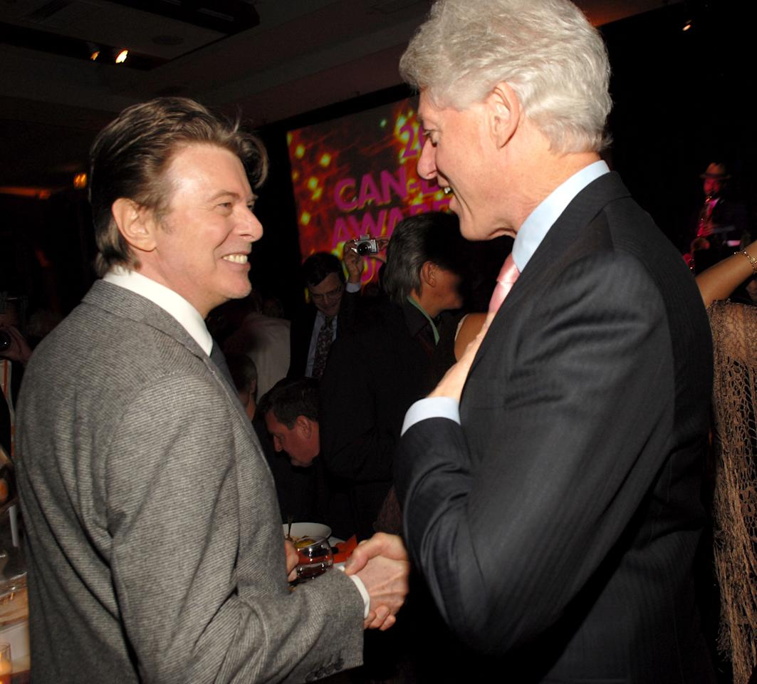 David Bowie and Bill Clinton (Photo by Kevin Mazur/WireImage)