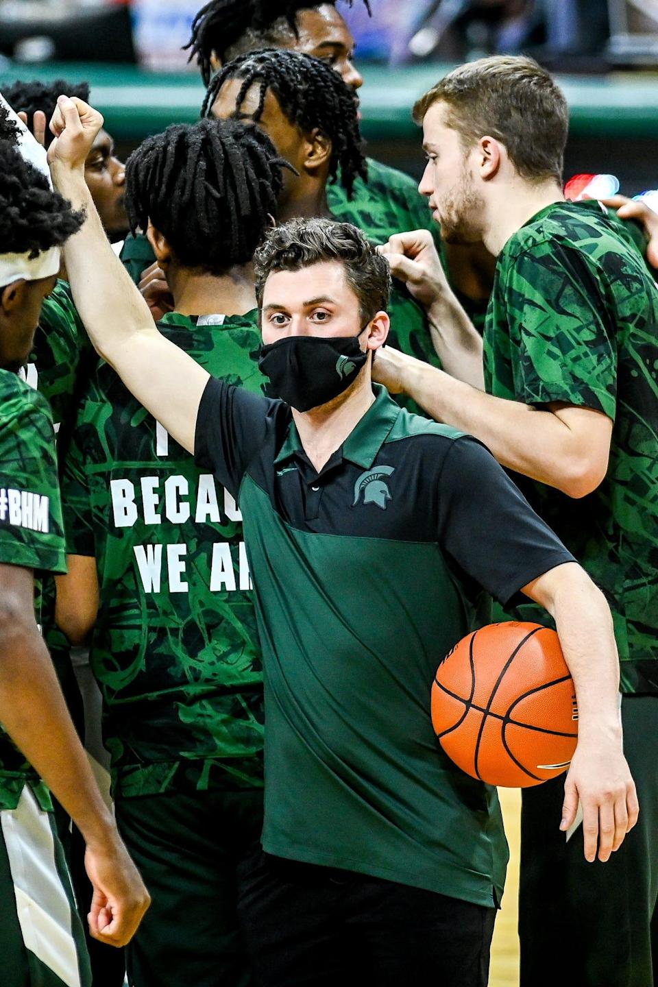 Michigan State's Foster Loyer did not dress for the Spartans game against Ohio State on Thursday, Feb. 25, 2021, at the Breslin Center in East Lansing.