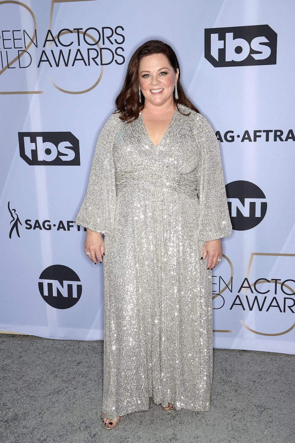 <p>Melissa McCarthy, nominated for <em>Can You Ever Forgive Me?</em>, wore a shimmering gown to the 2019 Screen Actors Guild Awards. (Photo: Getty Images) </p>