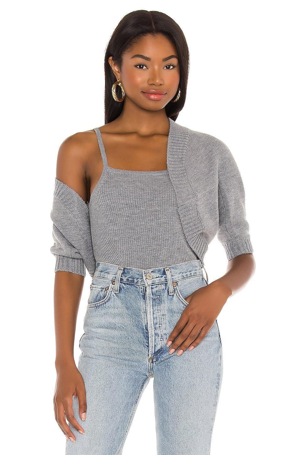 <p>This <span>L'Academie Ribbed Cami Sweater Set</span> ($168) manages to be both cozy and on trend.</p>