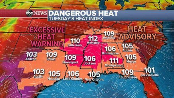 More scorching heat continues in the South today as 13 states are under heat alerts. (ABC News)