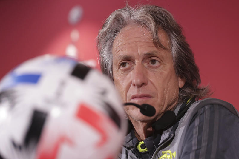 Flamengo's head coach Jorge Jesus speaks during a press conference in Doha, Qatar, Friday, Dec. 20, 2019. Flamengo will play the Club World Cup final soccer match against Liverpool in Doha on December 21. (AP Photo/Hassan Ammar)