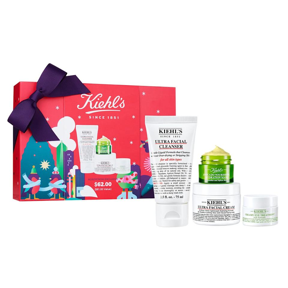"""<p>Brimming with four Kiehl's skin-care favorites, this set is just the thing to jump-start a beauty routine in the new year. Foam away dirt and debris with the cleanser, pat on a layer of moisturizer and a few dabs of <a href=""""https://www.allure.com/gallery/the-12-best-eye-creams?mbid=synd_yahoo_rss"""">avocado-infused eye treatment</a>, and smooth on the hydrating mask whenever your skin needs an extra boost. It's as easy as that, and the box is pretty darn cute, too, so you can at least <em>pretend</em> that you're planning on gifting the skin-saving kit.</p> <p><strong>$62</strong> (<a href=""""https://click.linksynergy.com/deeplink?id=MZ9491VLjxM&mid=1237&u1=allureGGnordstromgifts&murl=https%3A%2F%2Fshop.nordstrom.com%2Fs%2Fkiehls-since-1851-ultra-skin-lovers-ultra-facial-cleanser-set-nordstrom-exclusive-81-value%2F5375707%2Flite%3Forigin%3Dcategory-personalizedsort%26breadcrumb%3DHome%252FHoliday%2520Gifts%252FGifts%2520for%2520Her%26color%3Dnone"""" rel=""""nofollow"""">Shop Now</a>)</p>"""