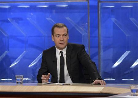 Russian PM Medvedev gives an interview to federal TV channels at the Ostankino TV Center in Moscow