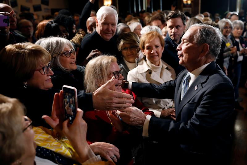 Michael Bloomberg with supporters