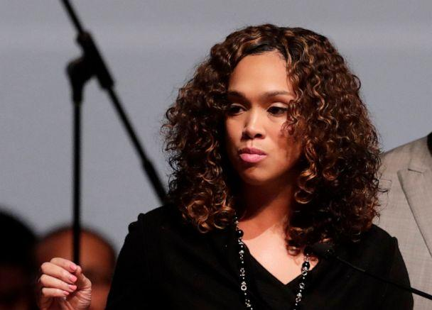 PHOTO: In this Oct. 23, 2019, file photo, Maryland State Attorney Marilyn Mosby, left, speaks during a viewing service for the late Rep. Elijah Cummings at Morgan State University in Baltimore. (Julio Cortez/AP, FILE)
