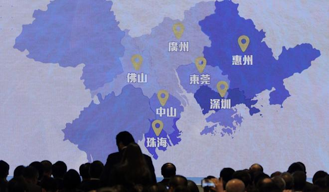 A screen shows a map of Greater Bay Area during a regional development symposium in Hong Kong in February. Photo: AP