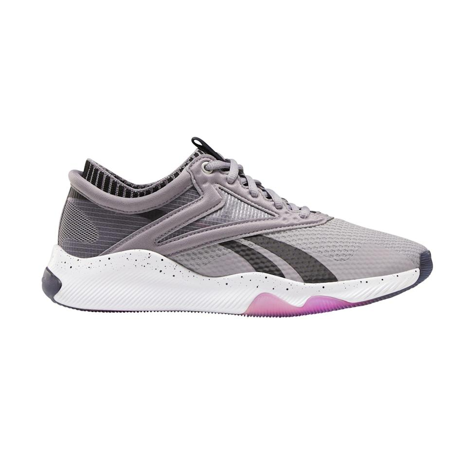 """<p>dsw.com</p><p><strong>$119.99</strong></p><p><a href=""""https://go.redirectingat.com?id=74968X1596630&url=https%3A%2F%2Fwww.dsw.com%2Fen%2Fus%2Fproduct%2Freebok-hiit-training-shoe---womens%2F481814&sref=https%3A%2F%2Fwww.prevention.com%2Ffitness%2Fworkout-clothes-gear%2Fg35229014%2Ffitness-awards-2021%2F"""" rel=""""nofollow noopener"""" target=""""_blank"""" data-ylk=""""slk:Shop Now"""" class=""""link rapid-noclick-resp"""">Shop Now</a></p><p>These versatile shoes hold feet in place during side-to-side movements and have flat, wide soles that support quick-action movements, both of which are needed for cross-training workouts, says Miguel Cunha, D.P.M. The grippy soles add stability.</p>"""