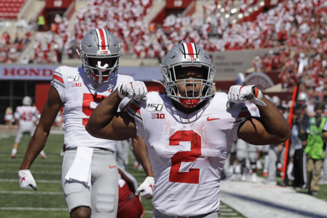Ohio State running back J.K. Dobbins (2) celebrates after scoring a touchdown during the first half of an NCAA college football game against Indiana, Saturday, Sept. 14, 2019, in Bloomington, Ind. (AP Photo/Darron Cummings)
