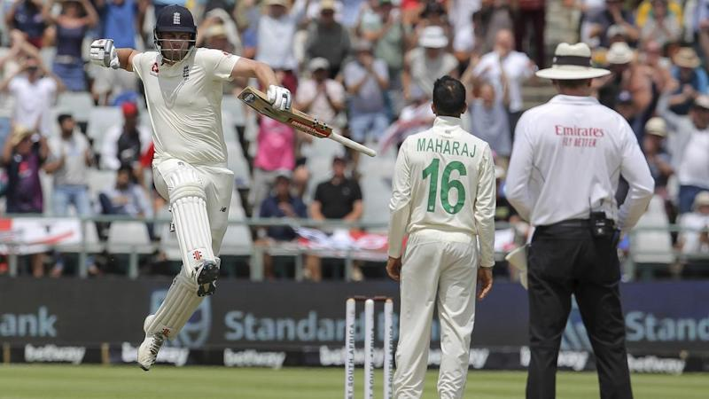 England opener Dom Sibley celebrates scoring his maiden Test ton against South Africa in Cape Town