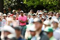 <p>Tiger Woods of the United States plays a shot on the seventh hole during a practice round prior to the start of the 2018 Masters Tournament at Augusta National Golf Club on April 2, 2018 in Augusta, Georgia. (Photo by Jamie Squire/Getty Images) </p>