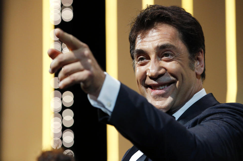 """72nd Cannes Film Festival - Opening ceremony and screening of the film """"The Dead Don't Die"""" in competition - Cannes, France, May 14, 2019. Javier Bardem gestures. REUTERS/Stephane Mahe"""