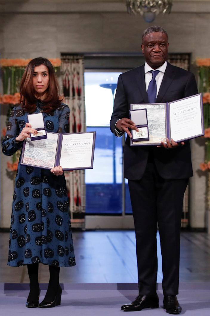 Iraqi Nadia Murad and Congolese doctor Denis Mukwege receive the Nobel Peace Prize for their efforts to end the use of sexual violence as a weapon of war and armed conflict at the Nobel Peace Prize Ceremony in Oslo Town Hall in Oslo, Norway, Dec. 10, 2018. (Photo: Reuters)