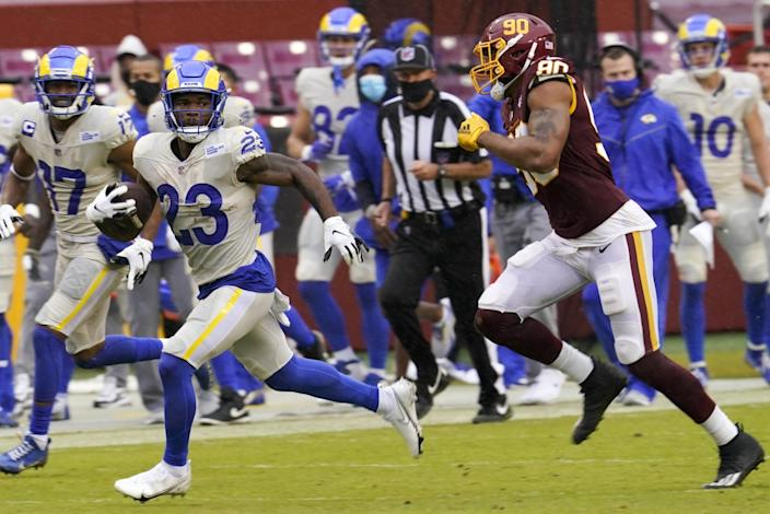 Rams running back Cam Akers carries the ball against Washington on Sunday.