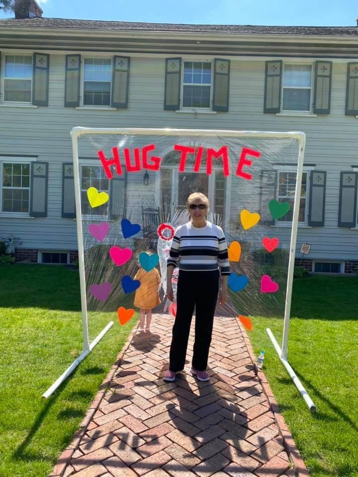 "Carly Marinaro (not pictured) built a ""Hug Time"" structure so her grandmother Rose Gagnon could hug her great-grandchildren. (Photo: Facebook/Carly Marinaro)"