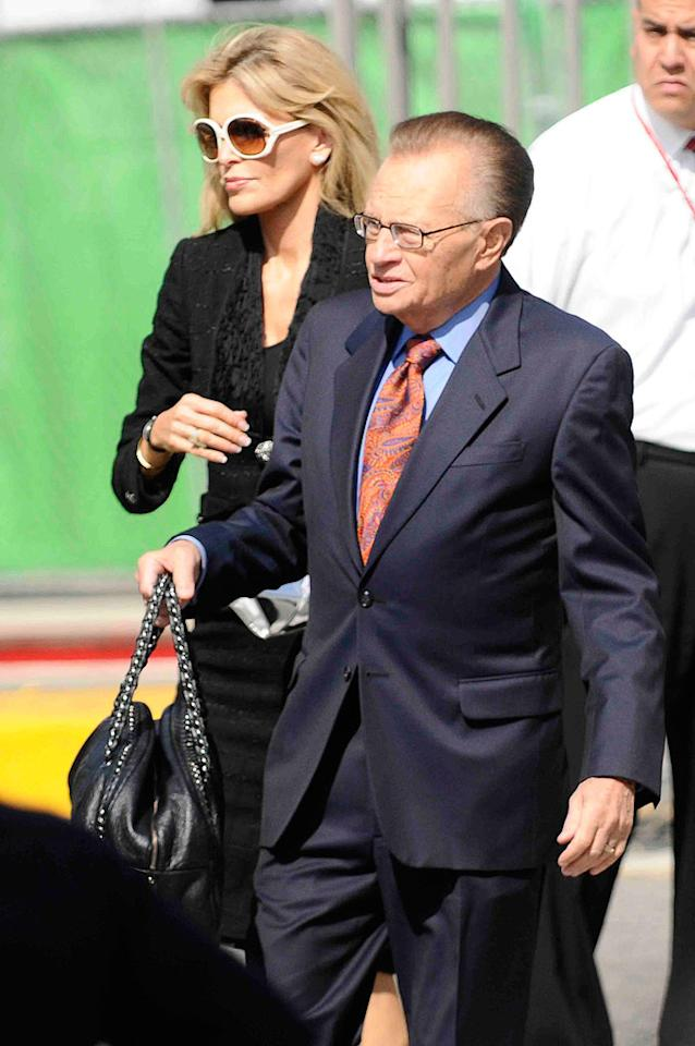 """Talk show titan Larry King escorted his wife, Shawn Southwick, into the arena. Larry will undoubtedly be covering today's event on his program later this evening. <a href=""""http://www.splashnewsonline.com/"""" target=""""new"""">Splash News</a> - July 7, 2009"""