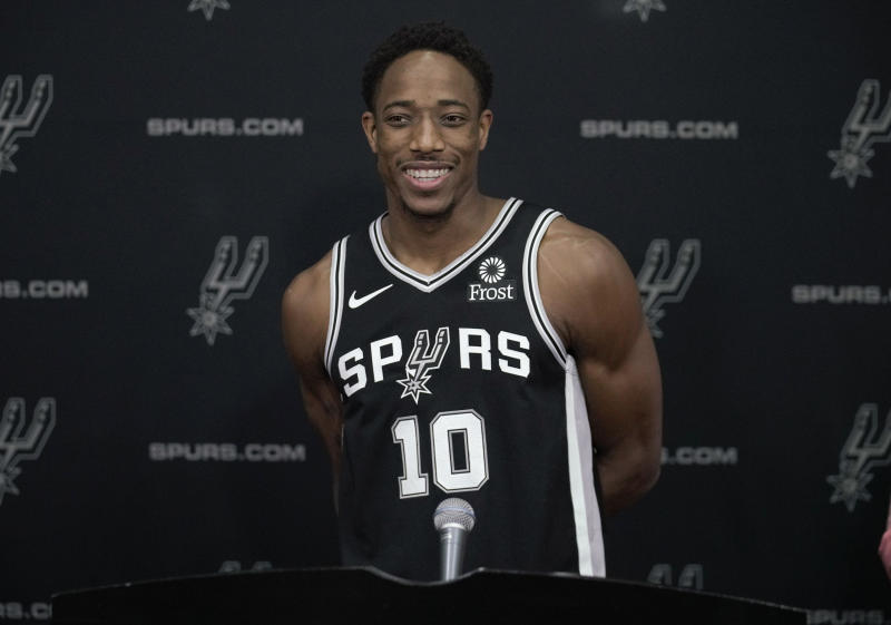 caa61d7e235 DeMar DeRozan couldn t believe Spurs fans already honored him with a mural.  (AP Photo)