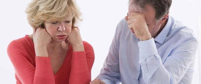 Senior couple  worried about paying bills and bankruptcy