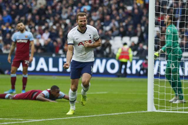 Kane sealed the points for Spurs - before a late West Ham rally. (AP Photo/Frank Augstein)