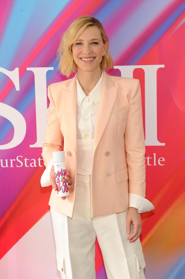 <p>Cate Blanchett celebrates SK-II Change Destiny limited series launch at Industria on Oct. 12, in New York City. (Photo: Craig Barritt/Getty Images for SK-II) </p>