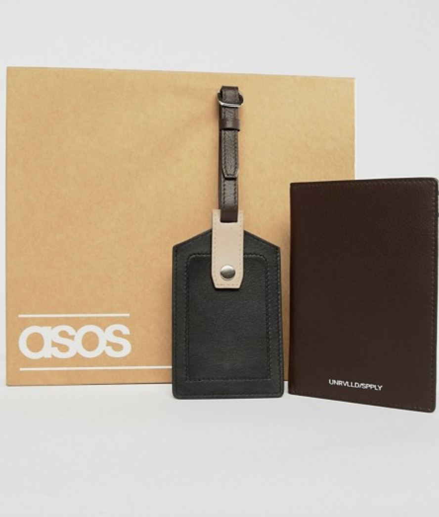 ASOS DESIGN leather luggage tag and passport cover