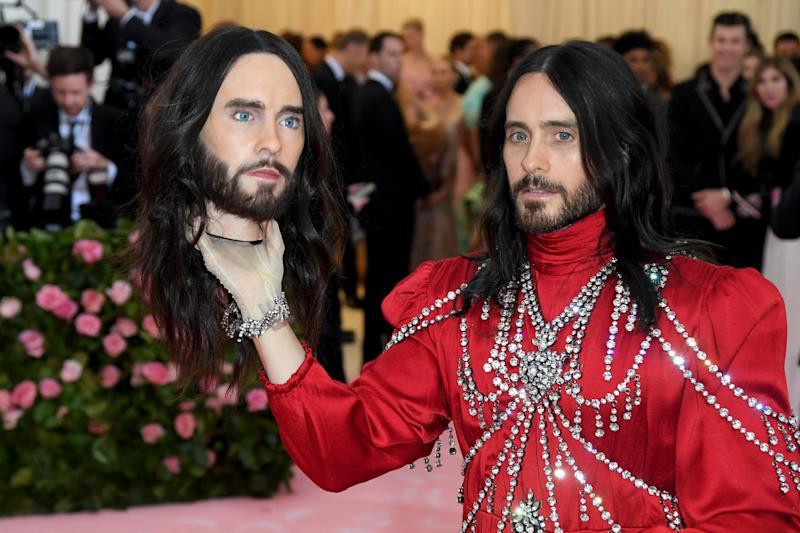 a53e1345b98 Jared Leto used a replica of his own head as an accessory on the Met Gala  2019 red carpet  Photo  Getty . More