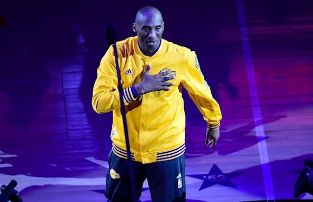 The Los Angeles Lakers' Kobe Bryant takes the court for the last time, for their season-ending NBA Western division matchup against the Utah Jazz, at Staples Center in Los Angeles, California, on April 13, 2016 (AFP Photo/Frederic J. Brown)