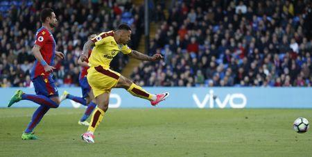 Britain Football Soccer - Crystal Palace v Burnley - Premier League - Selhurst Park - 29/4/17 Burnley's Andre Gray scores their second goal Action Images via Reuters / John Sibley Livepic